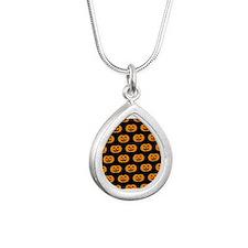 'Pumpkins' Silver Teardrop Necklace