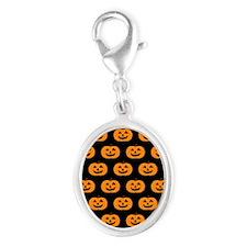 'Pumpkins' Silver Oval Charm