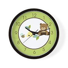 Honey Bear and Bumble Bee (Green) Wall Clock