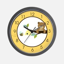 Honey Bear and Bumble Bee (Yellow) Wall Clock