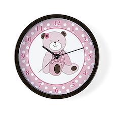 Sugar Cookie Pink Teddy Bear Wall Clock