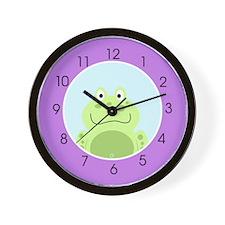 "Happy Frog (Purple) 10"" Plastic Wall Clock"