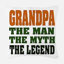 Grandpa The Legend Woven Throw Pillow