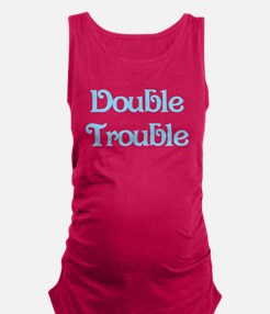 Double Trouble Blue Maternity Tank Top