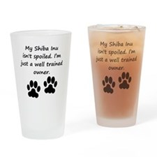 Well Trained Shiba Inu Owner Drinking Glass
