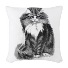 Beautiful Blue Eyed Cat Woven Throw Pillow