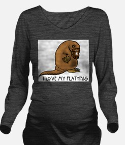I Love my Platypus Long Sleeve Maternity T-Shirt