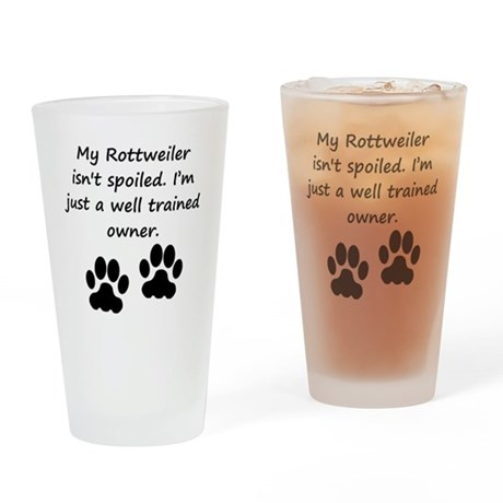 Well Trained Rottweiler Owner Drinking Glass