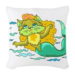 Kitty Mermaid Woven Throw Pillow