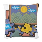 Jigsaw Puzzle Woven Throw Pillow