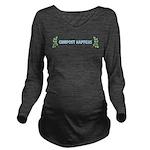 Compost Happens Long Sleeve Maternity T-Shirt