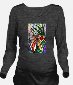 Stained Glass Tiger Lily Long Sleeve Maternity T-S