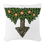 Art Nouveau Orange Tree Woven Throw Pillow