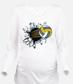 Volley Ball Burst Long Sleeve Maternity T-Shirt
