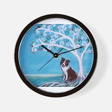 Border Collie Tree of Life Wall Clock