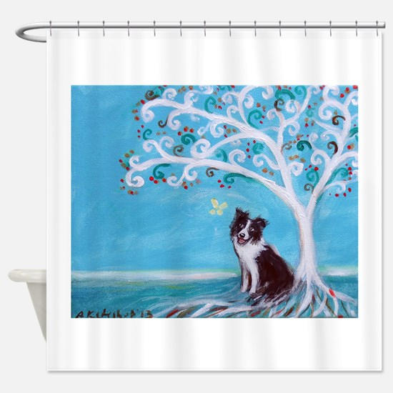 Border Collie Tree of Life Shower Curtain
