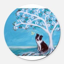 Border Collie Tree of Life Round Car Magnet