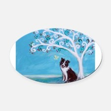 Border Collie Tree of Life Oval Car Magnet