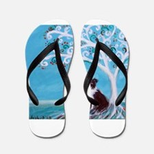 Border Collie Tree of Life Flip Flops
