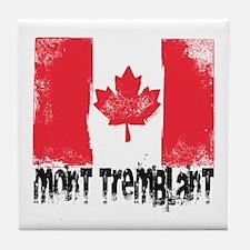 Mont-Tremblant Grunge Flag Tile Coaster