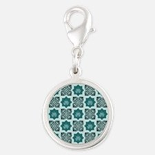 TEAL LOTUS Silver Round Charm