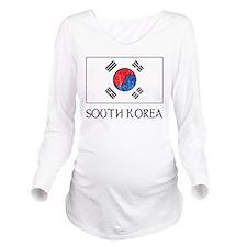 South Korea Flag Long Sleeve Maternity T-Shirt