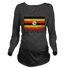 Ugandan Flag Long Sleeve Maternity T-Shirt