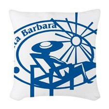 Santa Barbara Passport Stamp Woven Throw Pillow