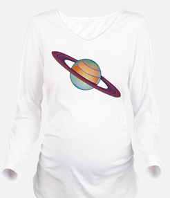 Planet Saturn Long Sleeve Maternity T-Shirt