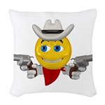 Cowboy Smiley Face Woven Throw Pillow