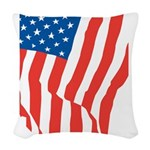American Flag Long May it Wav Woven Throw Pillow