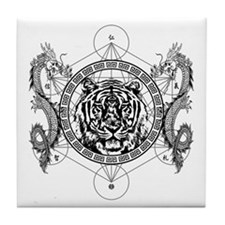 Tiger and Twin Dragons Tile Coaster