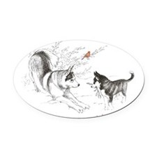 Be Merry Oval Car Magnet