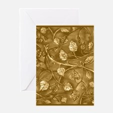 Tan Undulating Leaves Fall Greeting Cards