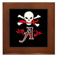 Jolly Roger A Initial Monogram Framed Tile