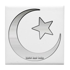 Silver Star and Crescent Tile Coaster