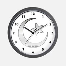 Silver Star and Crescent Wall Clock