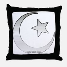 Silver Star and Crescent Throw Pillow