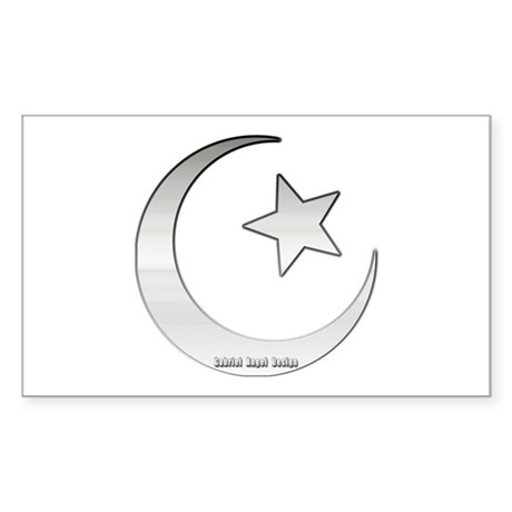 Silver Star and Crescent Rectangle Sticker
