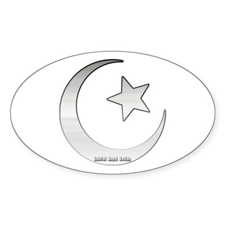 Silver Star and Crescent Oval Sticker
