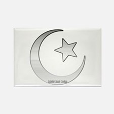 Silver Star and Crescent Rectangle Magnet