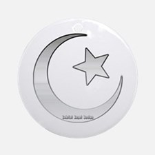 Silver Star and Crescent Ornament (Round)