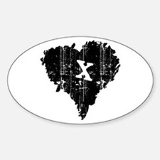 BLACK HEART ANTI-VALENTINE Oval Decal