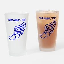 Custom Blue Winged Running Shoe Drinking Glass