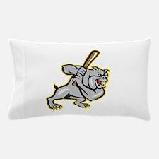 Bulldog Dog Baseball Hitter Batting Cartoon Pillow