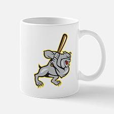 Bulldog Dog Baseball Hitter Batting Cartoon Mugs