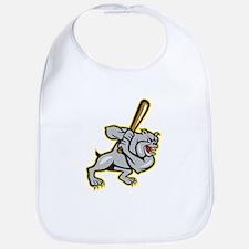 Bulldog Dog Baseball Hitter Batting Cartoon Bib