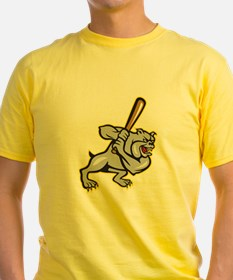 Bulldog Dog Baseball Hitter Batting Cartoon T-Shir