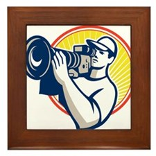 Cameraman Film Crew HD Video Camera Framed Tile