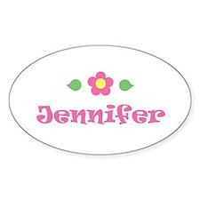 "Pink Daisy - ""Jennifer"" Oval Decal"
